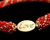 Bead Crochet Bracelet Heartfelt in Red Pink Sterling Silver Heirloom Quality Handmade Seed Bead Bracelet