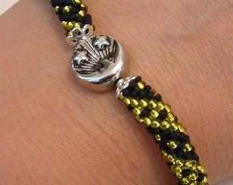 Bangle Bracelet Bead Crochet Rope Night & Day in Midnight Blue Yellow Seed Beaded Bracelet