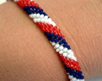 Patriotic Bracelet Bead Crochet Stars & Stripes Series Liberty Lasso Red White Blue Heirloom Quality Artisan Seed Beaded Rope Bangle