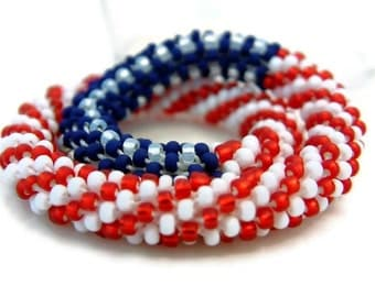 Flag Bracelet Bead Crochet Bangle Stars & Stripes Series Field of Blue Red White Blue Patriotic Heirloom Quality Handmade Seed Beaded Bangle