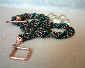 Bead Crochet Necklace VerdiBlack in Black Copper Blue Green Seed Beaded Rope