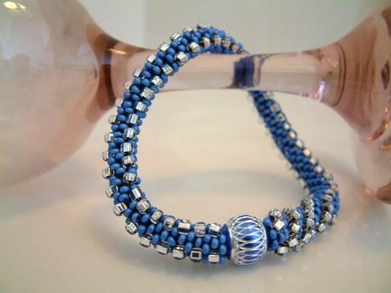 Summer Bracelet Bead Crochet Bangle Triangle Sapphire Swirl in Sapphire Blue, Silver Crystal Seed Beaded Rope
