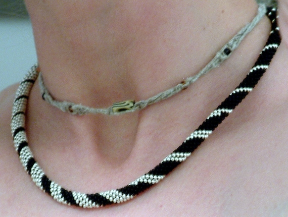 Crocheting Necklaces With Beads : Wedding Bead Crochet Necklace Silver Spiral in Black Platinum Silver ...