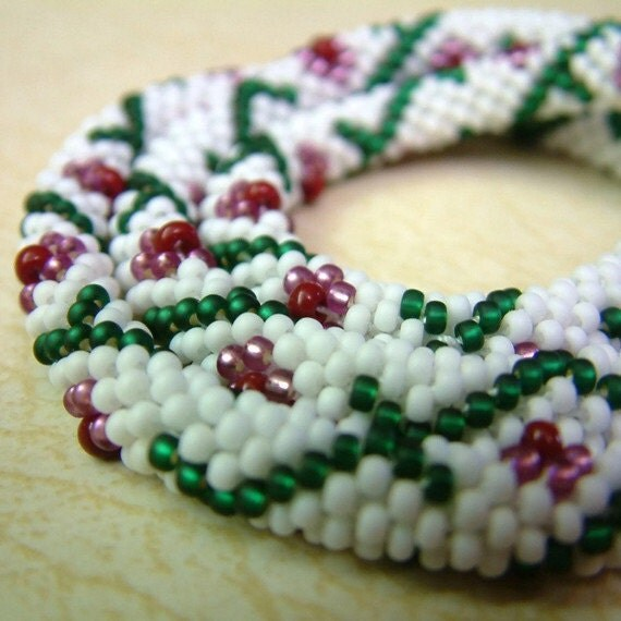 Wedding Necklace Bead Crochet Rope Flower and Vine in White Emerald Green Plum Amethyst Brick Red Handmade Seed Beaded Rope Heirloom Quality