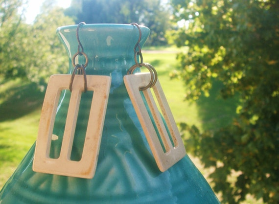 Upcycled belt buckle earrings. Ivory plastic. Lightweight. Bronze-toned findings. Rectangular. OOAK gift. Women's jewelry.