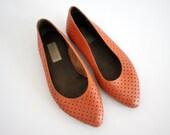 Vintage orange perforated ballet Flats (38 - 7.5)