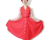 Vintage dress. red and white polka dot sleeveless dress. size XS/S