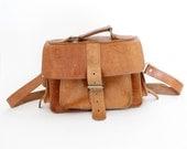 r e s e r v e d Vintage bag. brown leather satchel messenger bag.
