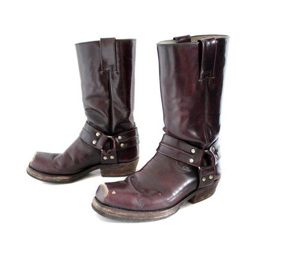 Vintage boots. wine red biker harness. size 38/7.5