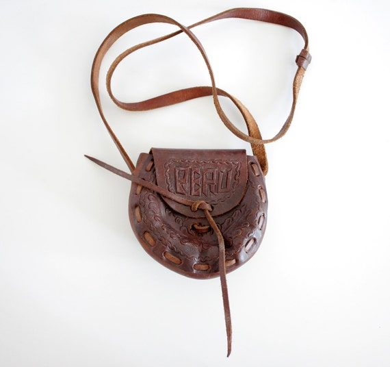 Vintage purse. whiskey brown hand tooled small satchel.