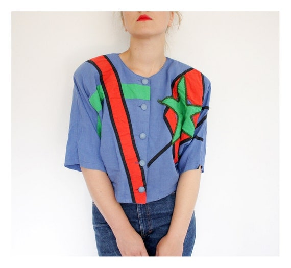 SALE Vintage blouse. Vogue big green star 1980s shirt. size M/L