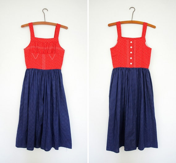 Vintage red and blue mixed pattern dirndl Dress (xs)