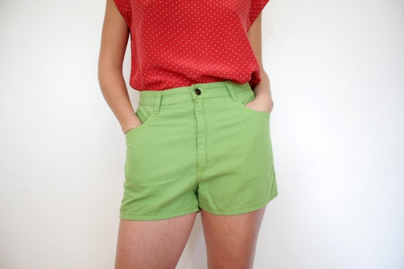 Vintage shorts / green jean high waisted / size M