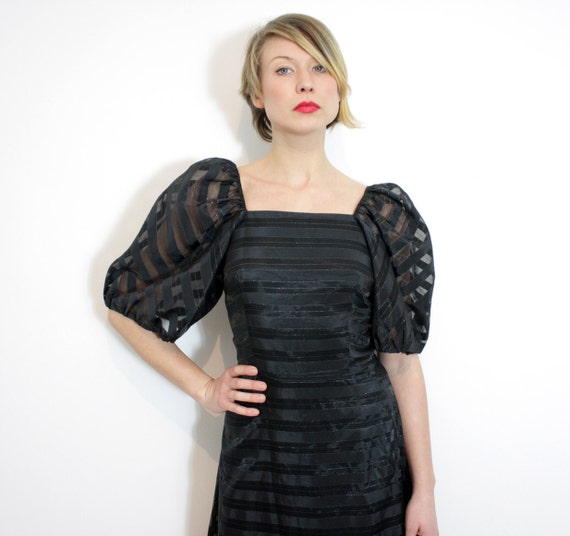 Vintage dress. long black striped puff sleeve gown / size S
