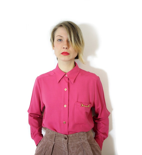 Vintage shirt / oversized pink long sleeve horsebit button up oxford / size S/M