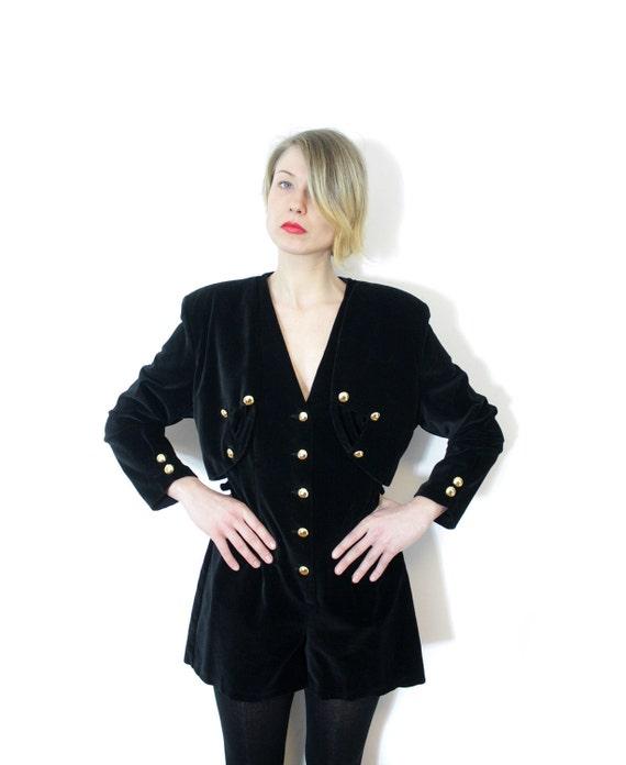 Vintage jumpsuit / 1980s black velvety jumper / size M