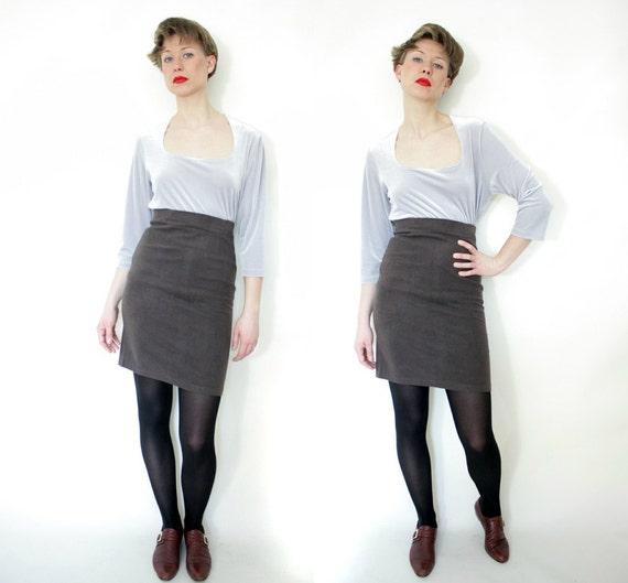 Vintage skirt. brown high waist bandage mini. size S