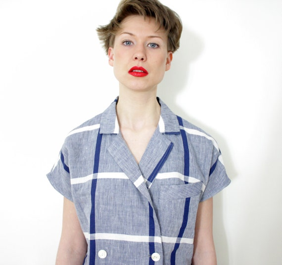 Vintage shirt. cap sleeve blue and white linen checked double breasted top. size L