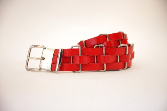 Vintage belt / 70s red leather and metal woven belt made in West Germany