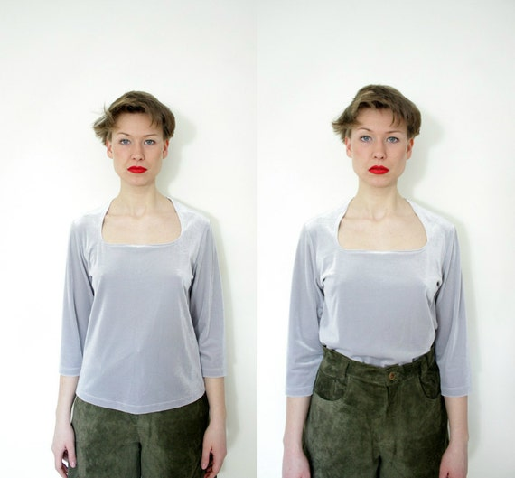 Vintage blouse / 90s gray silver simple velvety top / size M-L