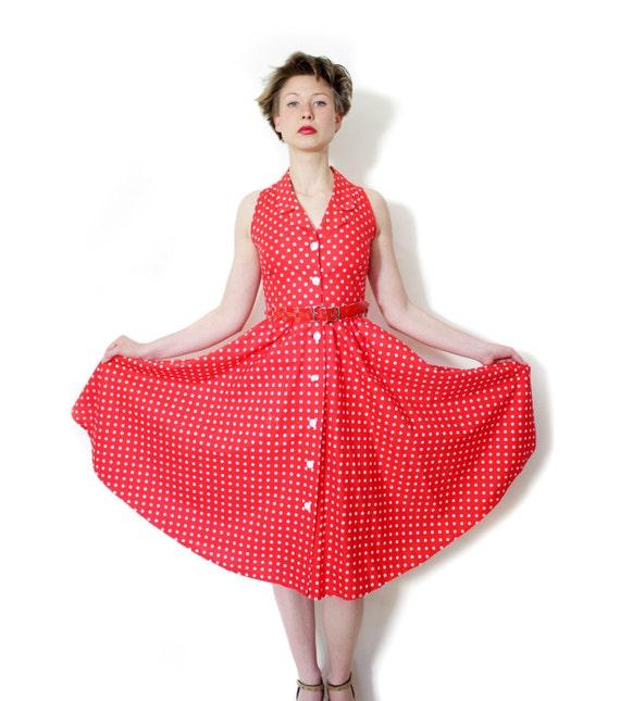 Vintage dress. red and white polka dot sleeveless dress. size XS/S