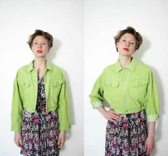 Vintage jacket / 80s Benetton green crop jean jacket / size M-L