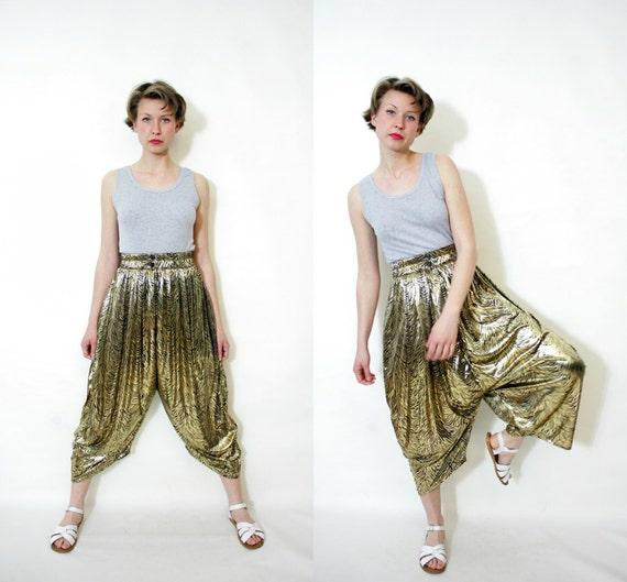 Vintage pants. 80s gold zebra harem pants. size S/M