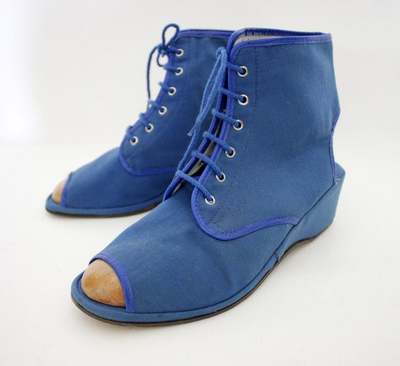 vintage shoes blue canvas open toe heel 70s wedge ankle