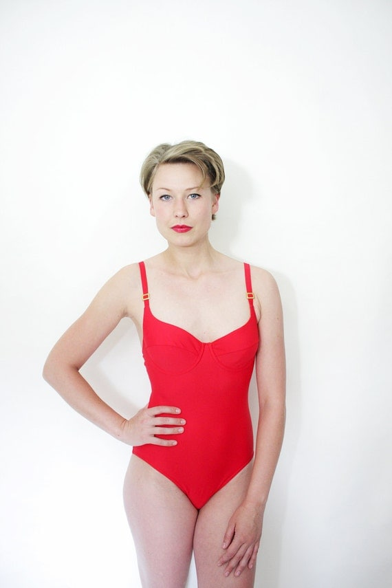 Vintage swimsuit / red one piece bathing suit / size S