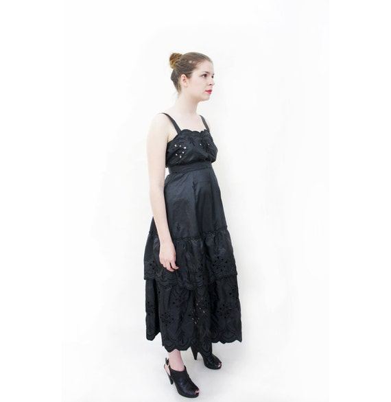 Vintage skirt set / black eyelet long skirt and top / size S