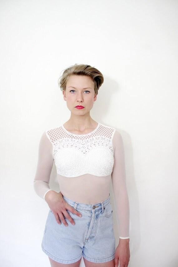 Vintage leotard. white mesh Adam pour Eve Paris bodysuit. size S