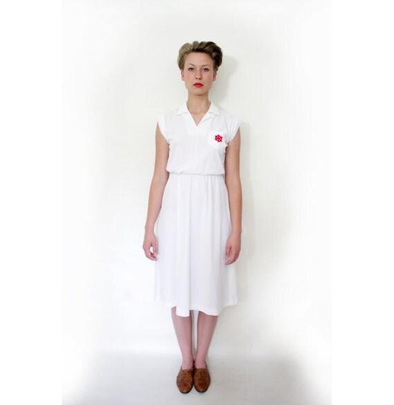 Vintage 70s white sailor dress / size S
