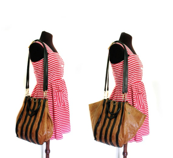 Vintage purse. brown and black stripe leather bag tote.