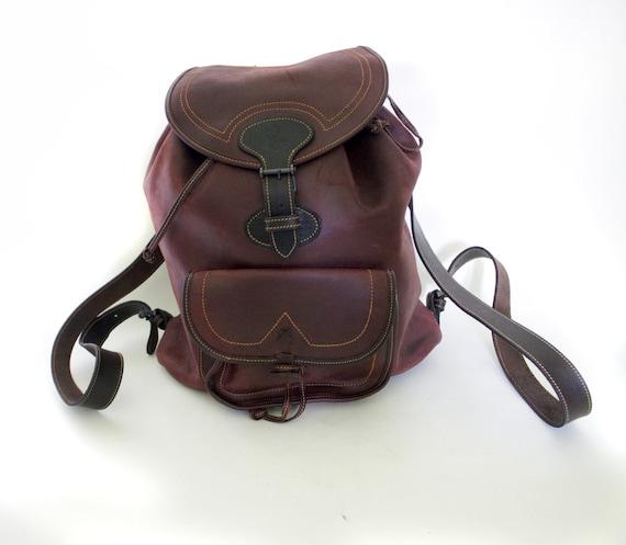Vintage backpack. brown leather rucksack.