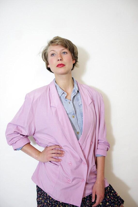 Vintage jacket / pastel lightweight silk and cotton blazer / size L