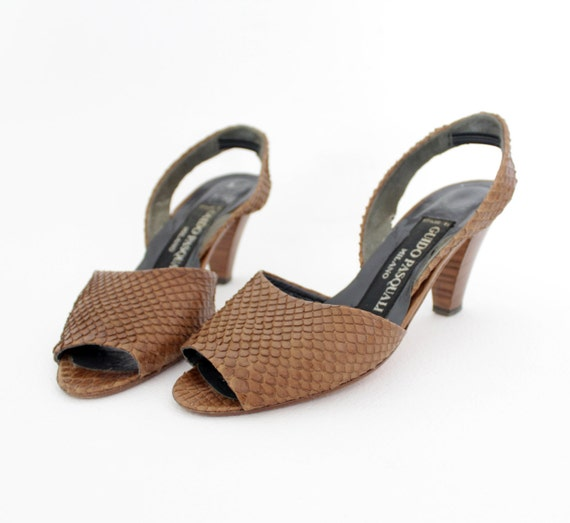 r e s e r v e d for juliaannata Vintage sandals / Guido Pasquali Milano snake skin slingbacks / size 36-6