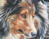 Shetland Sheepdog sheltie art print CANVAS print of LA Shepard painting 8x10 dog art