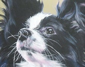 Papillon Dog art print CANVAS print of LA Shepard painting 8x8 dog art