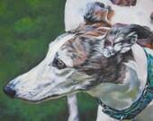 Greyhound dog art CANVAS print of LA Shepard painting 8x10 portrait
