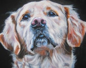 Golden Retriever art print CANVAS print of LA Shepard painting 12x16