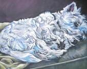 West Highland Terrier westie art print CANVAS print of LA Shepard painting 12x16 dog art