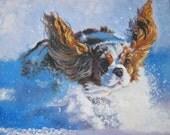 "Cavalier King Charles Spaniel DOG ART canvas PRINT by LAShepard painting 11x14"""