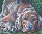 Irish Setter dog art CANVAS print of LA Shepard painting 8x10