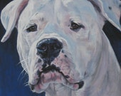 Dogo Argentino art CANVAS print of LA Shepard painting 12x12 portrait