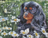 cavalier king charles spaniel dog art CANVAS print of LA Shepard painting 8x10