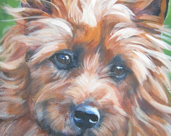 Australian Terrier art print CANVAS print of LA Shepard painting 8x10
