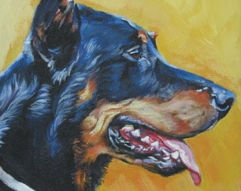 Beauceron dog portrait CANVAS print of LA Shepard painting 8x8 dog art