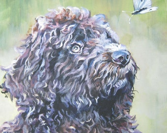 """BARBET dog art PORTRAIT canvas PRINT of LAShepard painting 8x8"""" french water dog"""