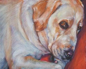 Labrador Retriever yellow lab art CANVAS print of LA Shepard painting 8x8 dog art