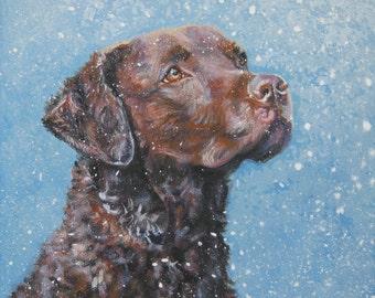 Chesapeake Bay Retriever dog art portrait CANVAS print of LA Shepard painting 8x8